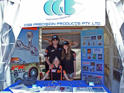 CGB at Sandown display Fluro and FK Motorsport Rod Ends and Spherical Bearings